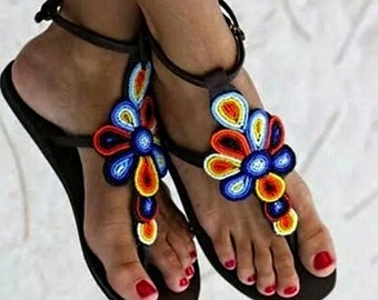 African Beaded Sandals