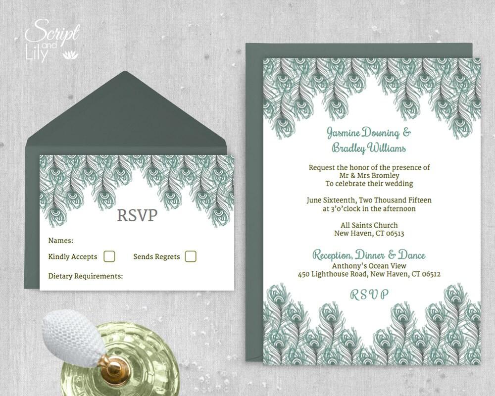 Peacock Wedding Invitations Template: Peacock Feather Wedding Invitation Template By ScriptAndLily