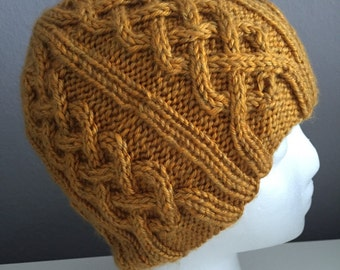 Yellow Cable Knit Hat