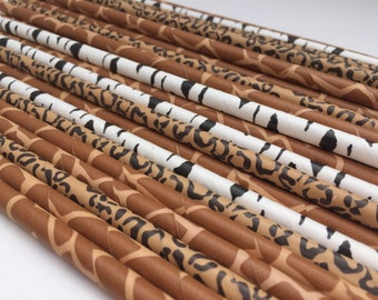 Safari Party Supplies: Jungle Theme Straws, Zoo Straws, Jungle Straws, Safari Straws, Paper Straws