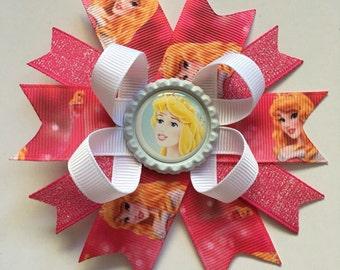 Disney Princess Inspired Mini Boutique Hairbows- Aurora Hairbows- Aurora Bows- Aurora Hair Bows- Sleeping Beauty- Sleeping Beauty Bow-
