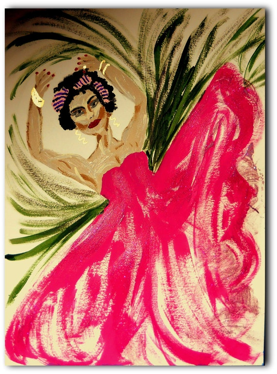 "Original Acrylic Painting, ""Katherine Dunham,"" Black Art, Dancer, African American Artist Stacey Torres 14x11"" Black History"