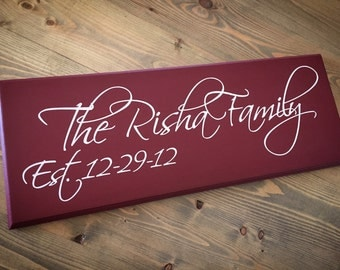 Personalized Family Name Sign wedding sign, anniversary gift, carved/engraved sign plaque