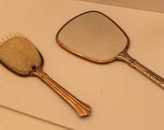 Vintage  Vanity  set Hand Mirror and Brush Flowers made in USA Comb and Brush Set