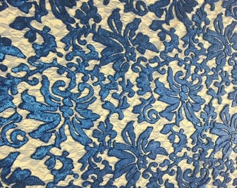 Beyonce Floral Apparel Sequence Lace Fabric - Royal Blue - By The Yard - 56""