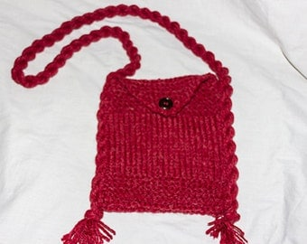 Red Hand Knitted Shoulder Bag, knitted bag, hand knitted bag,