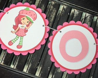 Strawberry Shortcake High Chair Banner-High Chair Bunting-First Birthday-Photo Prop-Birthday-Baby Shower-I Am One-One Year Old Banner