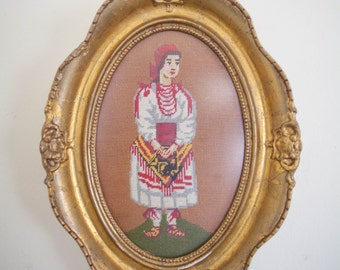 VINTAGE ANTIQUE- Needlepoint Framed PICTURE- Medium Framed Vintage Picture- Czech Republic Art