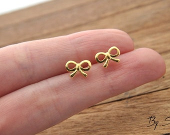Sterling Silver Bow Earrings Gold Plated, Delicate bow, bows Earrings, Silver Bow, Delicate silver, small bows, little bow, tinny bow,
