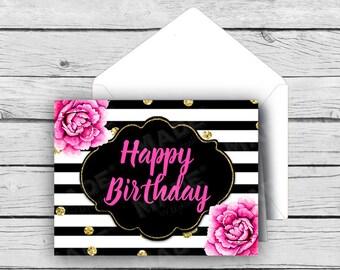 BIRTHDAY Note Card Set - Pink Peonies, Birthday Cards, Printed Cards, Stationery, Celebration, Black & White, Peonies