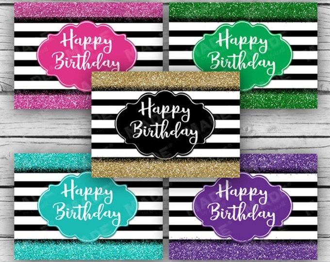 HAPPY BIRTHDAY Glitter Note Card Set, Birthday Cards, Printed Cards, Stationery, Celebration