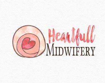 Childbirth Logo Design , Womb Logo, Heart Logo , Pregnancy Logo , Pregnant Belly , Uterus Logo , for Doula ,  for Midwife , Birth Worker