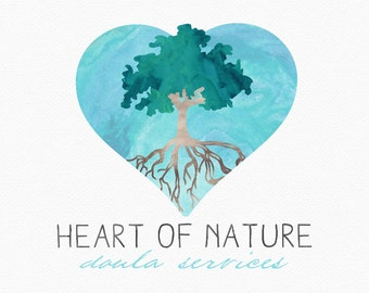 Heart Tree Logo Design , Watercolour Tree , Watercolor Heart , Tree in Heart , Tree with Roots , Rooted Tree , Doula Logo , Nature Logo