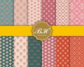 """Vintage Floral Digital Paper, Flower Pattern, floral background, Pink Turquoise Beige(12x12""""-300 dpi)-Instant Download-12 Digital papers"""