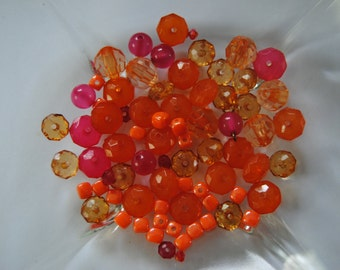 Small Lot Bead Destash Mixed Beads Craft Supplies Jewelry Making Plastic Pink Orange Bright Beads Faceted