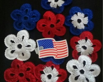 Crochet Flower Applique set of 10 - Crochet Flowers For Any  Craft Projects,Crochet Flower set of 10