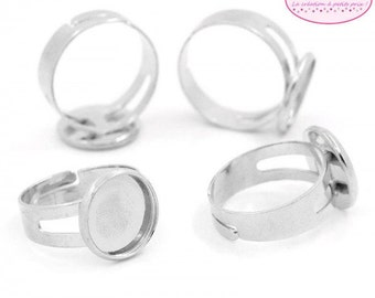 10 rings matte tray 12mm silver