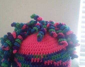 Mohawk hat, crochet mohawk, curly hat