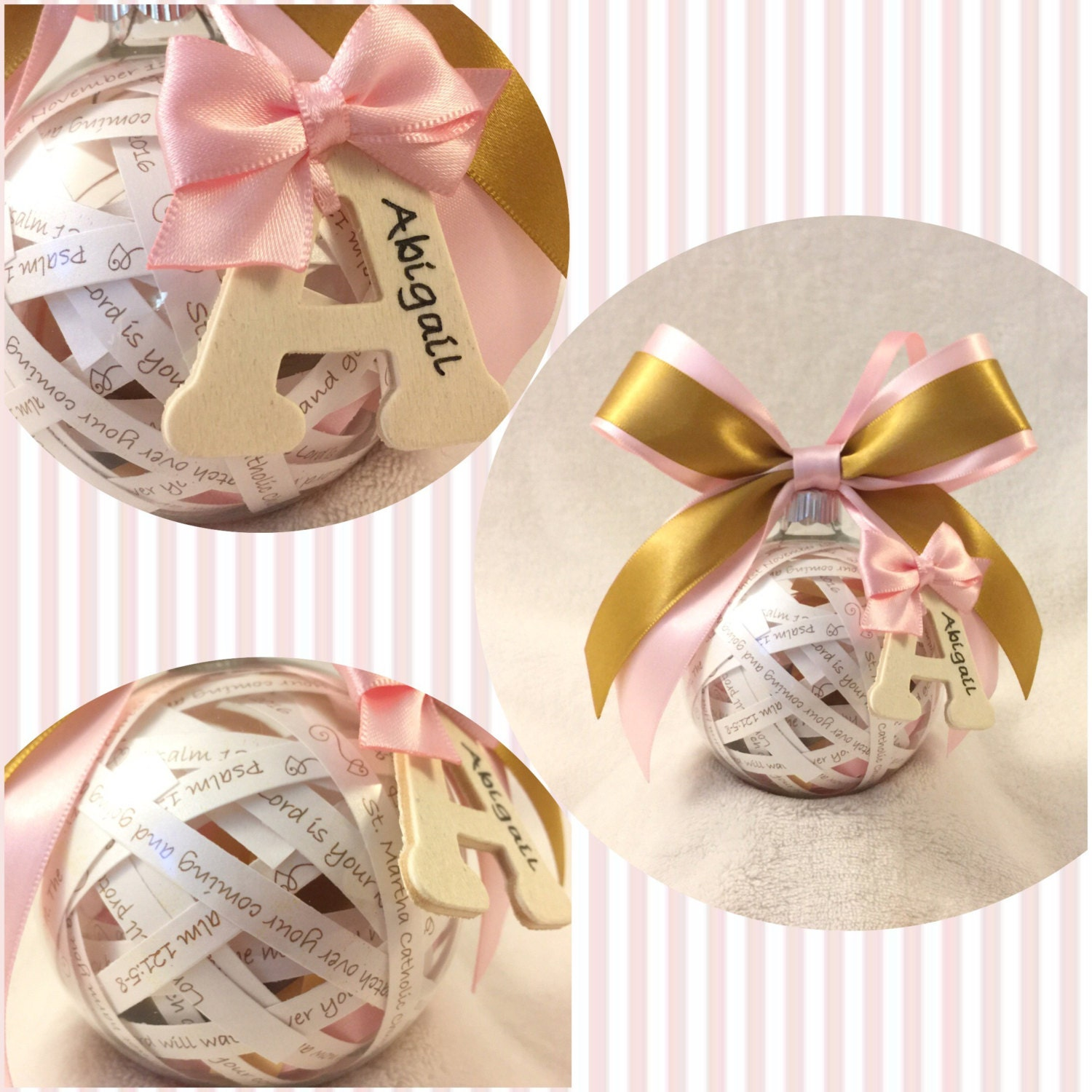 Baptism Ornament Christmas Ornament Personalized Baby: Personalized Baby Keepsake Bible Verse Ball Ornament