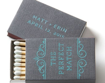 THE PERFECT MATCH w/ Scroll Matchboxes - Wedding Favor, Wedding Matches, Wedding Decor, Personalized Matches, Custom Matchboxes, Match Box