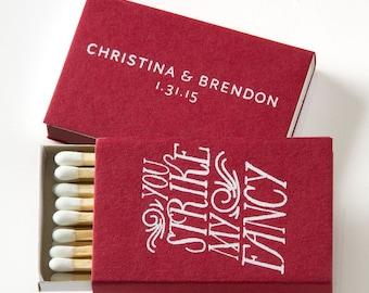 STRIKE MY FANCY Matchboxes - Wedding Favors, Wedding Matches, Wedding Decor, Personalized Matches, Custom Matchboxes, Match Box Party Favors