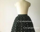 Gold Polka Dots Black Tulle Skirt Adult Women Short Skirt Bridesmaid Skirt TUTU Tulle Skirt/Wedding Dress Underskirt/Bachelorette TuTu