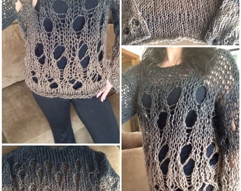 Grunge sweater, Knitted sweater, Sweater with holes, Light weight sweater, Loose knit sweater, Summer sweater, Pullover sweater, Grunge top