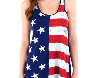 Fourth of July Flag (GT3769-193NVY) Women's Tank. United States, US flag, country tees, womens tank tops, tank top, July 4th, Independence