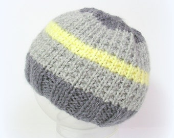 Gray and yellow handknitted baby hat, size 3/6 months
