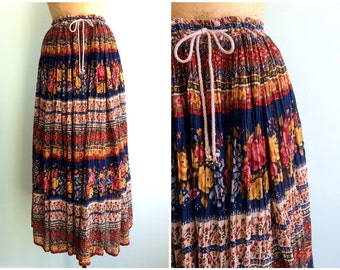 Vintage 1970's Indian Cotton Maxi Skirt | One Size Fits Most