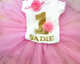 Cake Smash/ Gold And Pink/ Birthday Outfit/ First Birthday/ Tutu/ Cake Smash Outfit