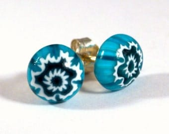 Blue and White Snowflake Stud Earrings, Sterling Silver or Surgical Steel Posts, Fused Glass