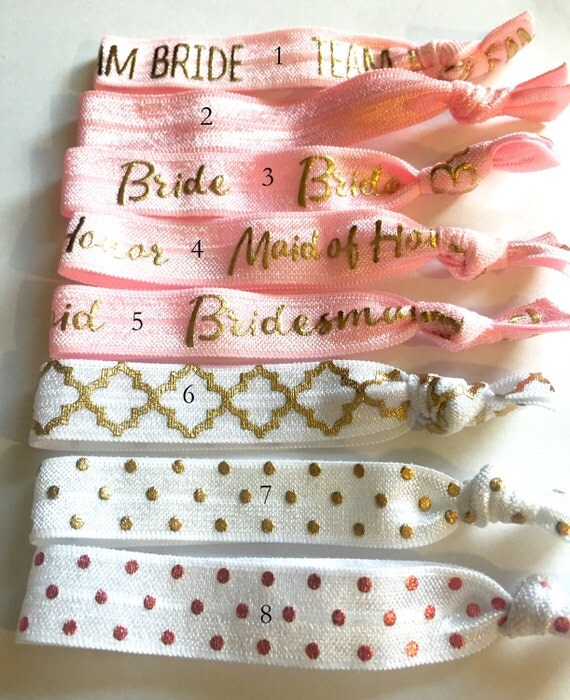 Choose Your Own-Light Pink & White Bridal/Bridal Party Hair Tie Set-Pick 6 hair ties