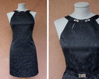 Versace Little Black Dress - 90's Versace Dress - Cheongsam dress inspired - Size S