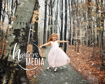 Child and Adult Outdoor Fall Winter Woods Trail Photography Digital Backdrop Prop for Photographers in 2 Versions