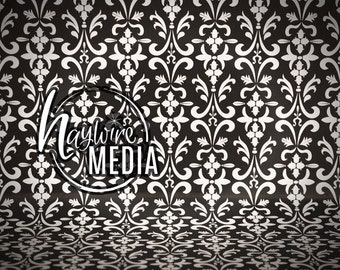 Black and White Damask Pattern Photography Background Backdrop Texture - Instant Digital Download