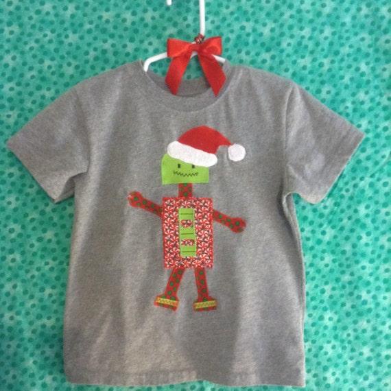 Toddler boy's Santa Robot appliqué  t-shirt