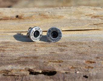 9mm Luger Bullet Jewelry Ammo Earring Studs with Gunmetal Black Crystals and Nickel Free Posts-Ready to SHIP