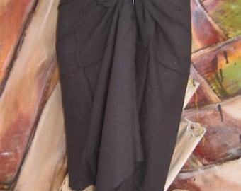NEW Hawaii Pareo Sarong Short Black Pareo Beach Pool Coverup Luau Cruise Wrap Dress Skirt