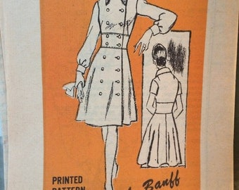 Vintage Double breasted Coatdress Pattern by Banff