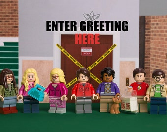 Personalised A5 Greetings Card printable featuring Big Bang Theory themed LEGO minifigs (Digital Product)