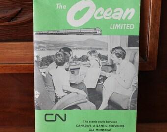 The Ocean Limited, Canadian National Railway, Train Brochure, Train Memorabilia, 1960s Canadiana