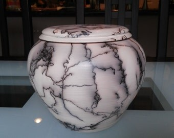 Horse hair raku urn/lidded container