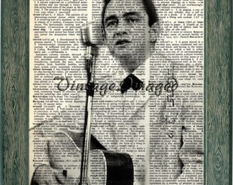 Johnny Cash print art on 8x10 upcycled dictionary page 8x10