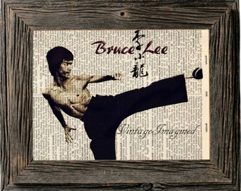 Bruce Lee art print, kung fu art on upcycled vintage dictionary page 8x10