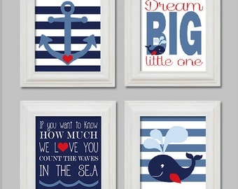 8X10 - Nautical Nursery Art Prints - Little boy nursery - Anchor and whale - Count the waves in the sea - Dream Big Little One - Printable