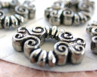Lead Free Pewter Spiral Design Window Beads, Made in America USA Copyright © Protected Pewter Beads, KF Signature Series ~ K349 AP