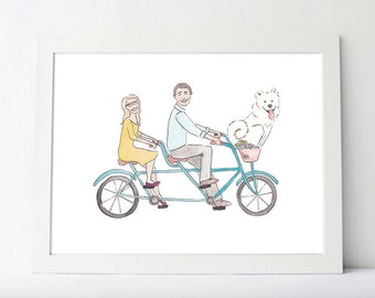 Custom Couple Portrait, family portrait illustration, mothers day gift, anniversary gift, engagement present, couples gift, personalized