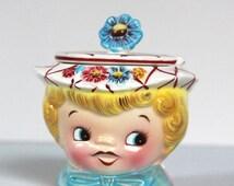 Black Friday Sale Vintage Lefton Dainty Miss Girl Sugar Bowl with Lid 1950's Mid Century Kitsch Kitchen
