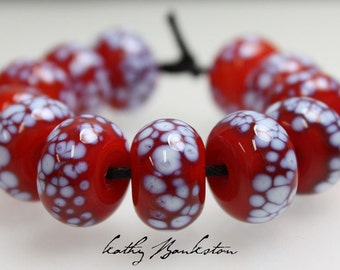 Red and White Lampwork Beads, Red & White Beads, Red Lampwork, Red Beads, Handmade Beads, Glass Beads, Kathys Bead Shop, Red Lampwork Beads